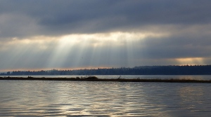 Sun pierces through clouds in Royston, B.C. (Courtesy Tanja Kerr)