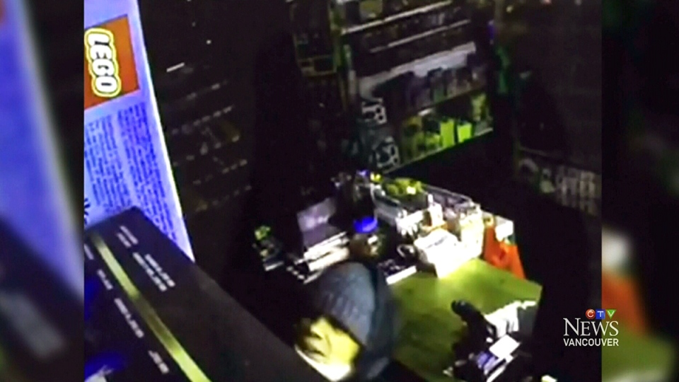 Security footage from the Granville Island Toy Company shows a suspect stealing a Lego set from the Vancouver toy store.