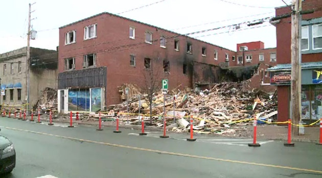 The aftermath of the Friday night downtown Bathurst fire.
