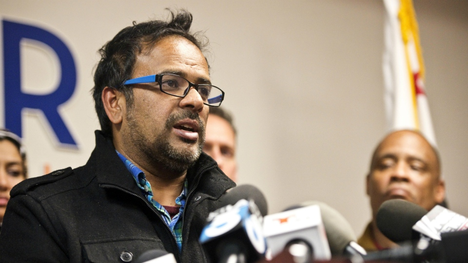 Farhan Khan, brother-in-law of one of the suspects involved in a shooting in San Bernardino, Calif., speaks during a news conference at the Greater Los Angeles Area office of the Council on American-Islamic Relations, in Anaheim, Calif. on Dec. 2, 2015. (Matt Masin / The Orange County Register)