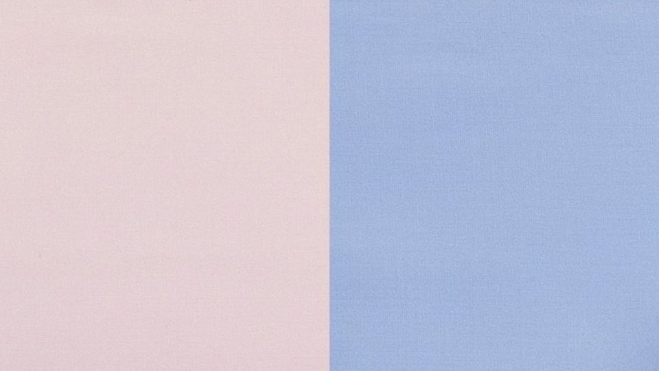 This color swatch image released by Pantone shows a shade of pink, called Rose Quartz.(left) and Serenity (right). (Pantone)