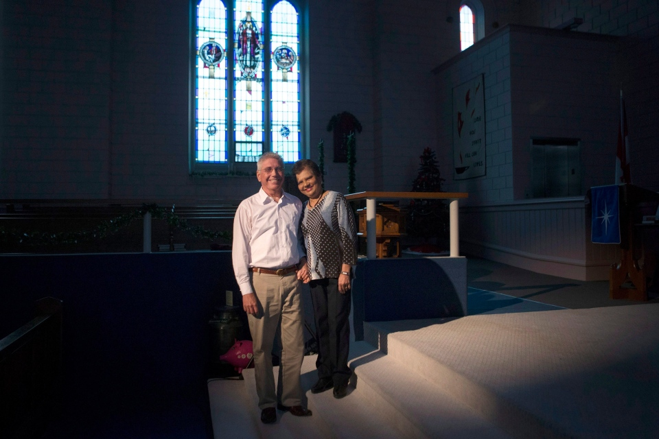 Brian Logel, chair of the Headwaters Refugee Group, is pictured with his wife Philomena at the Westminster United Church, in Orangeville, Ont., on Tuesday, Dec. 1, 2015. (THE CANADIAN PRESS/Chris Young)