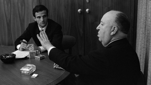 """Francois Truffaut, left, and director Alfred Hitchcock in a scene from Kent Jones's documentary, """"Hitchcock/Truffaut."""" (Philippe Halsman / Cohen Media Group)"""