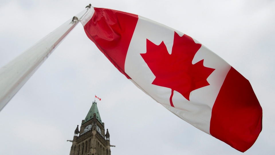 The Canadian flag flies on Parliament Hill ahead of the speech from the throne in Ottawa, Friday Dec. 4, 2015. (Adrian Wyld/The Canadian Press)