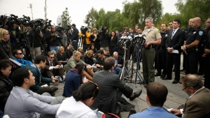 San Bernardino County Sheriff John McMahon talks to reporters during a news conference Friday, Dec. 4, 2015, in San Bernardino, Calif. (AP Photo/Jae C. Hong)