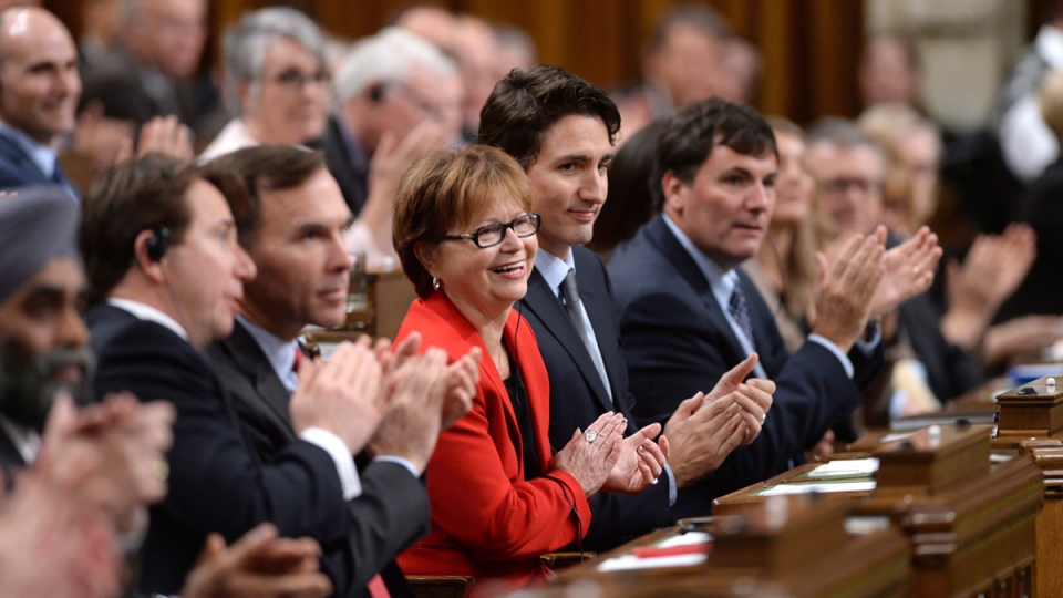 Prime Minister Justin Trudeau and members of his cabinet listen to the candidates vying for Speaker of the House of Commons on Parliament Hill in Ottawa on Dec. 3, 2015. (Sean Kilpatrick / THE CANADIAN PRESS)