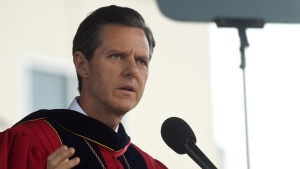 Liberty University president Jerry Falwell, Jr., speaks during the commencement ceremony in Lynchburg, Va., Saturday, May 10, 2014. (AP Photo/News & Daily Advance, Parker Michels-Boyce)