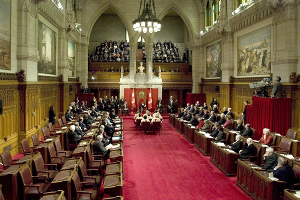 The Government side of the Senate Chamber was partially empty as Governor General Michaelle Jean read the Speech from the Throne on Parliament Hill in Ottawa, on Wednesday, Nov. 19, 2008. (Adrian Wyld / THE CANADIAN PRESS)