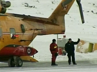 Two Swedish nationals are seen after they were rescued from he frozen waters off Baffin Island.