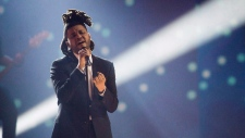 The Weeknd performs during the 2015 Junos