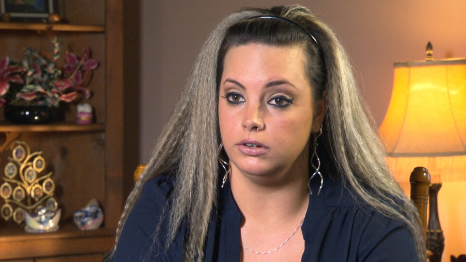 Terra Mercer speaks about her daughter's birth defects with CTV News in this undated image.