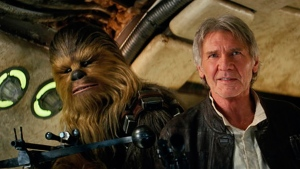 Peter Mayhew as Chewbacca and Harrison Ford as Han Solo in 'Star Wars: The Force Awakens.' (Film Frame / Lucasfilm)