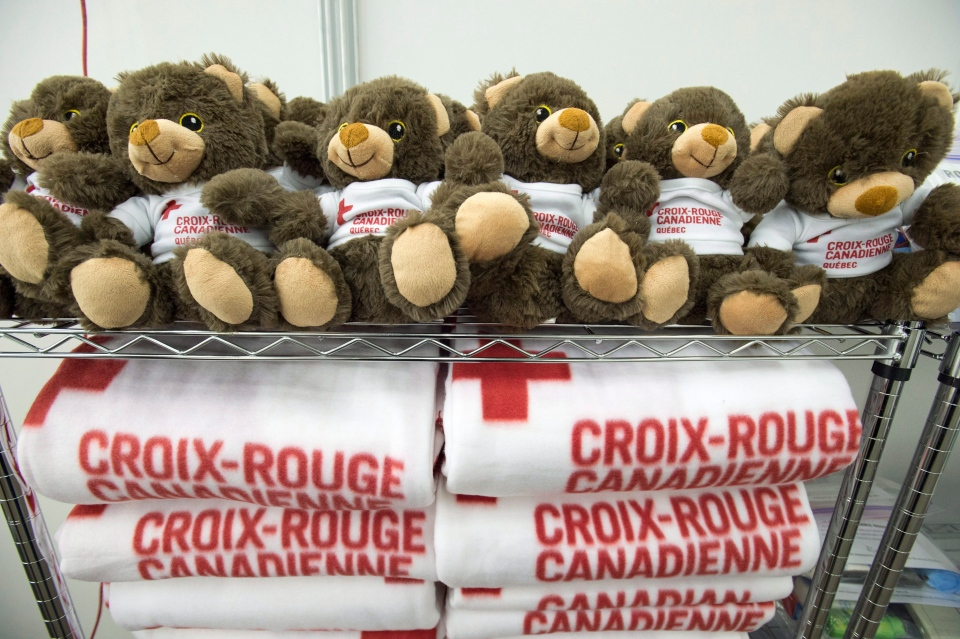 Teddy bears and blankets are seen during a media tour of the arrival facilities for Syrian refugees, Tuesday, December 8, 2015 in Montreal. (THE CANADIAN PRESS / Ryan Remiorz)