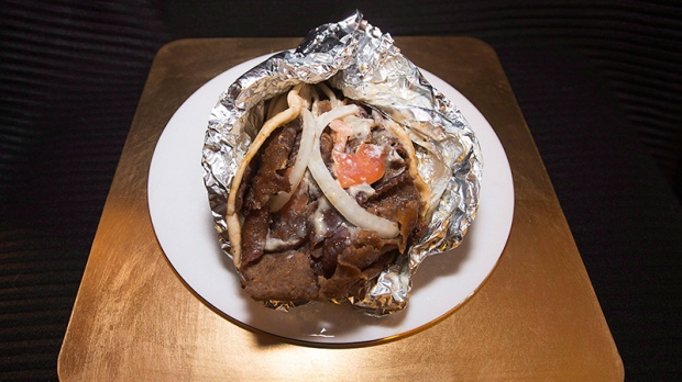 A large donair is displayed in Dartmouth.