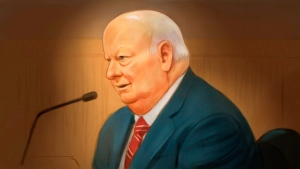 In this artist's sketch, Sen. Mike Duffy, a former member of the Conservative caucus, testifies at his trial in Ottawa, Monday, Dec. 8, 2015. (THE CANADIAN PRESS/Greg Banning)