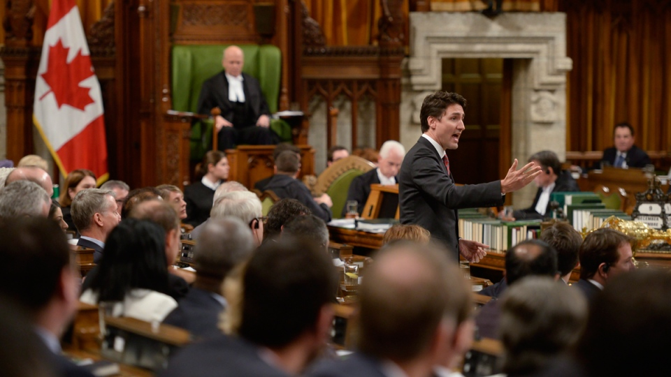 Prime Minister Justin Trudeau answers a question during question period in the House of Commons on Parliament Hill in Ottawa, on Dec. 9, 2015. (Adrian Wyld / THE CANADIAN PRESS)