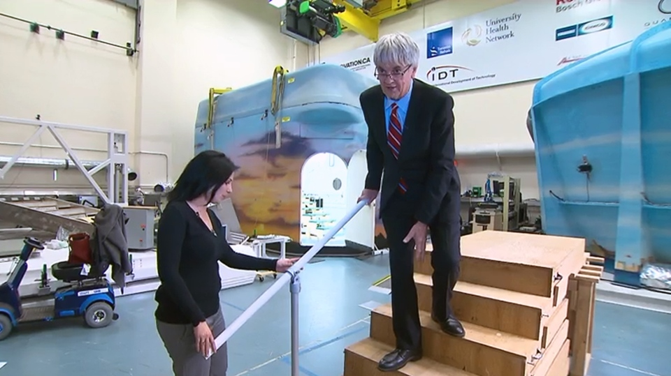 Dr. Geoff Fernie with Dr. Alison Novak of the Toronto Rehabilitation Institute demonstrate safer stairs.