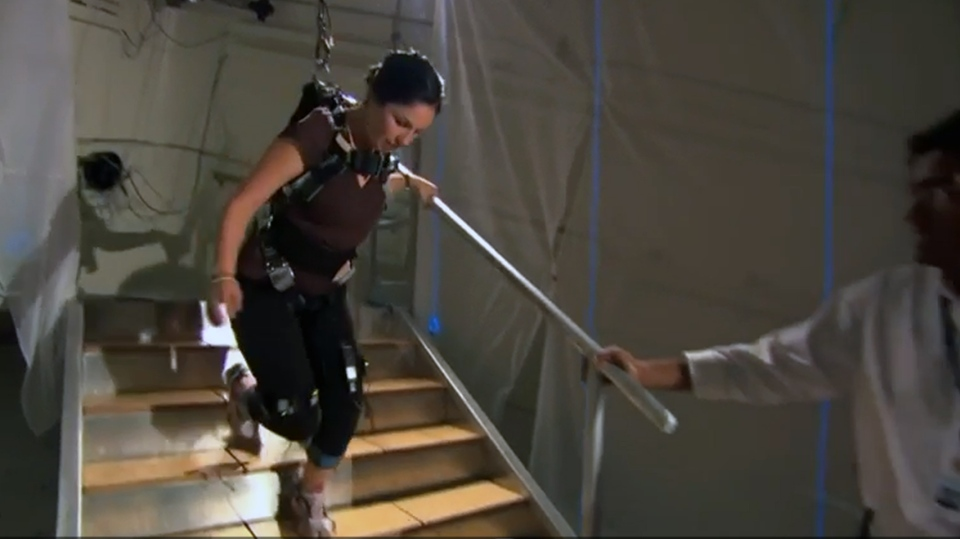 Dr. Alison Novak demonstrating on a fall on a staircase with a standard tread depth.