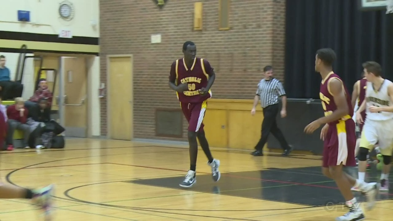 Jonathon Nicola during a basketball game with Catholic Central High School in Windsor, Ont. (CTV Windsor)