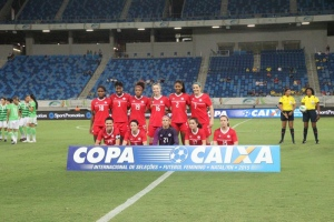 The Canadian women's soccer team poses for a photo at Arena das Dunas in Brazil on Dec. 9, 2015. (Twitter / @CanadaSoccerEN)