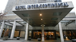 The Hotel InterContinental in Frankfurt, Germany, where German prosecutors say they have arrested five South Koreans on suspicion of murder following the death a 41-year-old woman in an apparent exorcism ritual in a room in the hotel on Thursday, Dec. 10, 2015. (AP / Michael Probst)