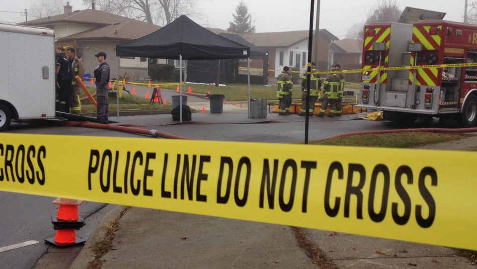 Items are removed from a suspected meth lab on Biscayne Drive in Cambridge on Thursday, Dec. 10, 2015. (Kevin Doerr / CTV Kitchener)