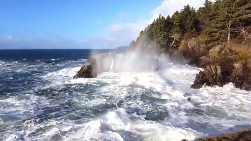 Waves slam into rocks at Sheringham Point in Shirley, B.C. (Paulina Szajek Photography/Facebook)