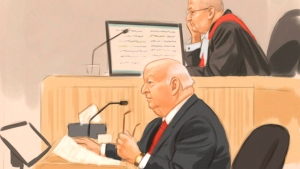 In this artist's sketch, Sen. Mike Duffy, a former member of the Conservative caucus, testifies at his trial in Ottawa, Thursday, Dec. 10, 2015. Judge Charles Vaillancourt looks on, (Greg Banning / THE CANADIAN PRESS)