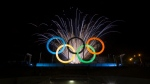Fireworks explode behind the Olympics rings during their inauguration at the Madureira Park in Rio de Janeiro, Brazil, Wednesday, May 20, 2015. (Felipe Dana/AP)