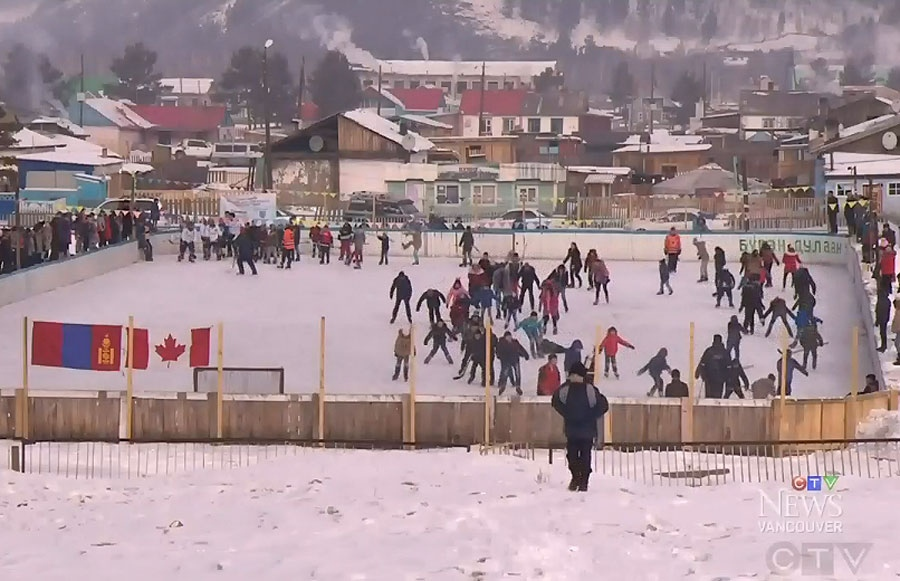 Mongolian hockey players skate at one of the country's 13 rinks.