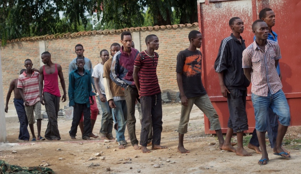 Men captured by security forces in Burundi