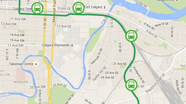 Map of the Green Line LRT route through the East Village, Inglewood, Ramsay and Alyth/Bonnybrook (City of Calgary)