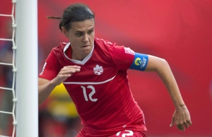 In this file photo, Canada's Christine Sinclair celebrates a goal in Vancouver, B.C., on June, 27, 2015. (Jonathan Hayward / THE CANADIAN PRESS)