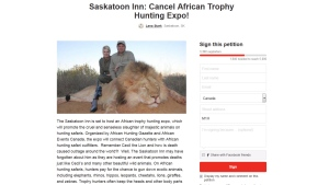 An African hunting expo that's scheduled to take place in Saskatoon in January is coming under fire as an online petition calling for the show's cancellation gains traction.