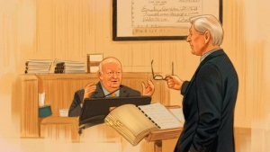 In this artist's sketch, Sen. Mike Duffy, a former member of the Conservative caucus, responds to defence lawyer Donald Bayne (right) at his trial in Ottawa, Monday, Dec. 14, 2015. (Greg Banning / THE CANADIAN PRESS)