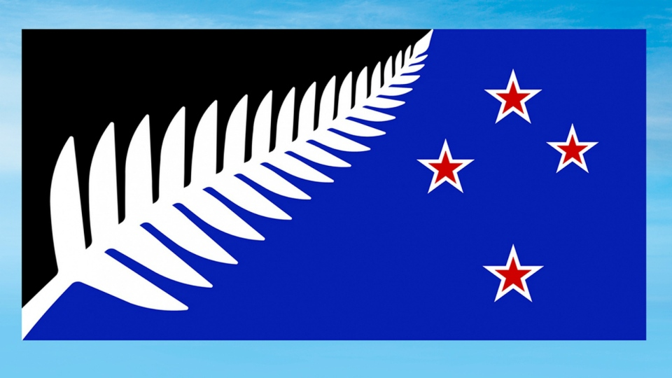 This undated illustration provided by the New Zealand Government shows a flag design; Silver Fern (Black, White and Blue) by Kyle Lockwood. (New Zealand Government)