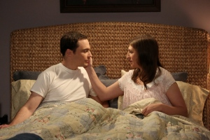 This image released by CBS shows Mayim Bialik, right, portrays Amy, and Jim Parsons portrays Sheldon in a scene from 'The Big Bang Theory.'  (Michael Yarish/CBS via AP)