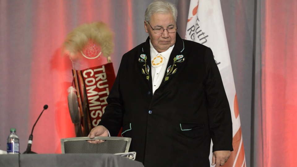 Justice Murray Sinclair takes his seat at the release of the Final Report of the Truth and Reconciliation Commission of Canada on the history of Canada's residential school system, in Ottawa on Tuesday, Dec. 15, 2015. (Adrian Wyld / THE CANADIAN PRESS)
