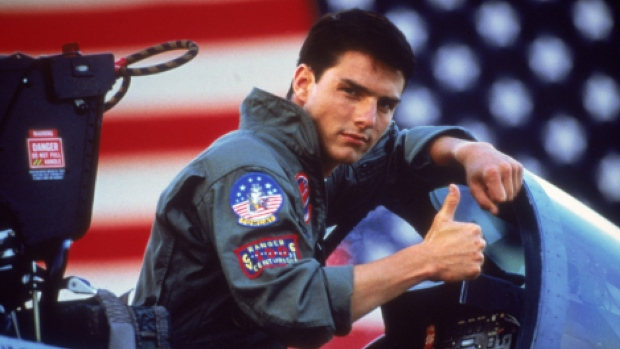 In this undated film publicity image released by Paramount Pictures, Tom Cruise is shown in a promotional image for the 1986 film, 'Top Gun.' (AP / Paramount Pictures)