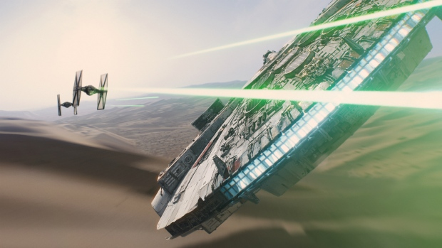 The Millennium Falcon is seen in scene from the new film, 'Star Wars: The Force Awakens. (Film Frame / Disney / Lucasfilm)
