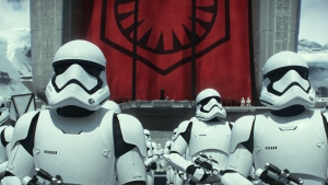 "Stormtroopers are seen in a scene from the new film, ""Star Wars: The Force Awakens."" (Film Frame / Lucasfilm)"