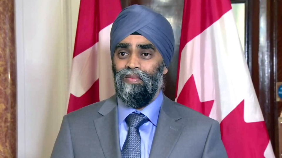Defence Minister Harjit Sajjan speaks during a press conference at Canada House in London, England, Friday, Dec. 18, 2015.