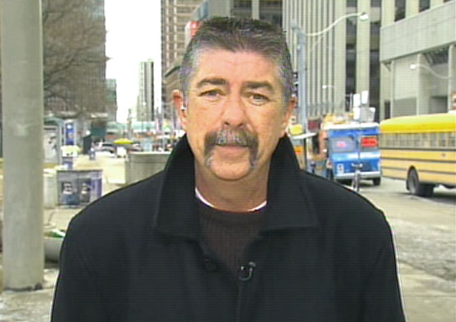 Chris Buckley, Canadian Auto Workers Union Local 222 president, speaks with CTV Newsnet from downtown Toronto, Friday, Dec. 12, 2008.
