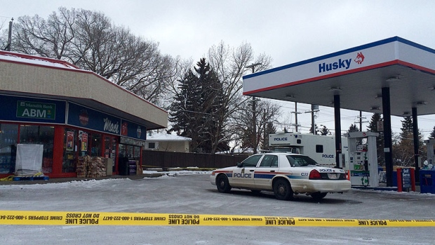 Later on Friday, December 18, police tape remained on scene at a convenience store on 108 Street and 61 Avenue.
