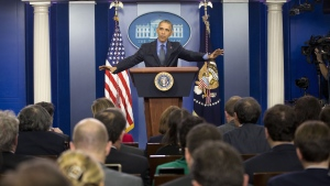President Barack Obama vows to work hard in 2016, during a news conference in the White House Brady Press Briefing Room in Washington, on Friday, Dec. 18, 2015. (AP Photo/Pablo Martinez Monsivais)