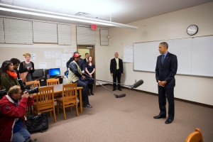 President Barack Obama delivers a statement at Indian Springs High School after meeting with families affected by the shootings in San Bernardino, Calif., on Friday, Dec. 18, 2015, in San Bernardino, Calif. (AP/Evan Vucci)