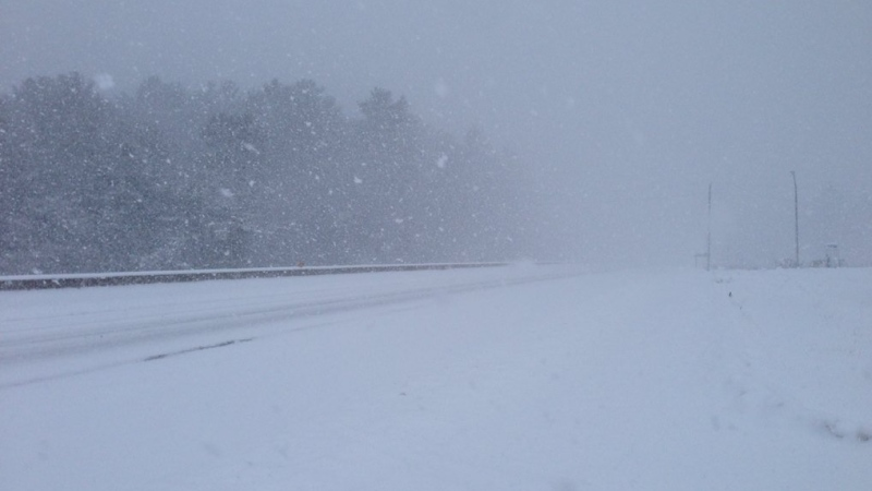 Blowing snow moves across Highway 11 in Kilworthy, Ont. on Saturday, Dec. 19, 2015. (Heather Butts/ CTV Barrie)