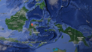 In this Google map, Sulawesi island is noted with red point.