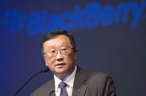 Chief executive John Chen speaks at the BlackBerry Ltd. annual meeting in Waterloo, Ont., on June 23, 2015. (Frank Gunn/THE CANADIAN PRESS)