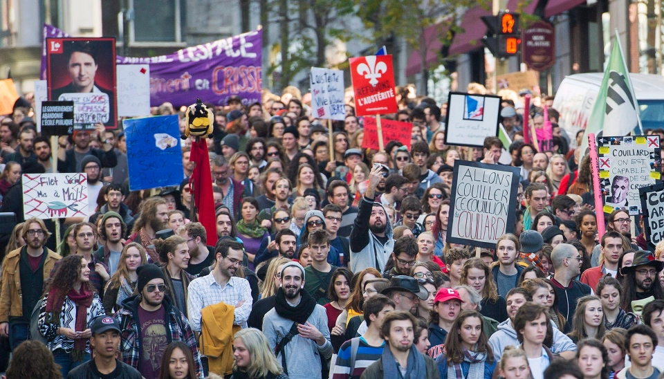 Quebec students protest austerity